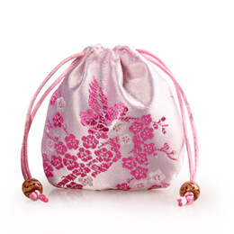 Wholesale mini sachets - Mini Chinese Silk Jewelry Pouch Satin Floral Drawstring Gift Bag Round Bottom Packaging Bags Sachet 3pcs lot