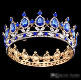 Corone di costume del rhinestone online-Pageant Full Circle Tiara Clear Rhinestones austriaco King / Queen Crown Wedding Bridal Crown Costume Party Art Deco