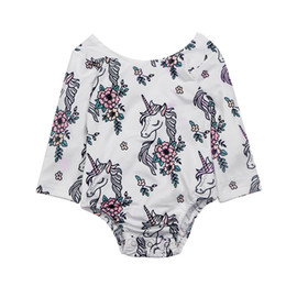 Wholesale Horse Jumpsuit - Girls Printed Rompers Horse Hollowed Bow Floral Print Long Sleeve Newborn Jumpsuits Summer Spring Autumn Triangle Outfit 3-18M