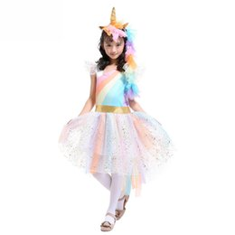 cute unicorn dress halloween supplies childrens costumes halloween cosplay costume unicorn dresses stage show rainbow princess dress
