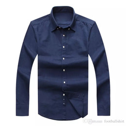 camisa de seda plateada para hombre Rebajas Envío de la gota 2019 de manga larga del ajustado Camisas de hombre otoño masculino de Estados Unidos Marca los polos de la manera del 100% Oxford camisa casual pequeñas tendedero