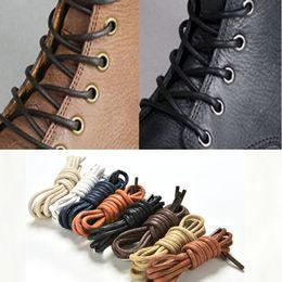 Scarpe in pelle marrone arrotondata online-Lacci delle scarpe Pelle impermeabile Lacci Forma rotonda Corda fine Bianco Nero Rosso Blu Lacci delle scarpe marrone viola 6 paia