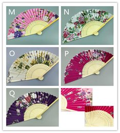 Wholesale marriage ornaments - Hot 300pcs Colorful Chinese Bamboo Folding Hand Fan Flowers Floral Wedding Dance Party Decor