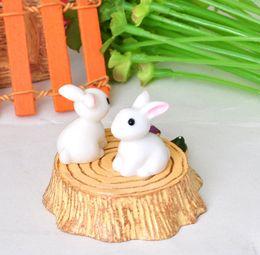Wholesale Crafts Bunny - Fairy Garden Miniature Rabbit White Bunny Artificial Mini Rabbits Decors Resin Crafts Bonsai Decorations Home Decorative Ornaments