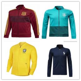 Wholesale france soccer kit - 18 world cup Germany Spain Portugal France Soccer jacket TRAINING SUIT 2018 Belgium Argentina soccer jacket kit Italy TRACKSUIT SPORTSWEAR