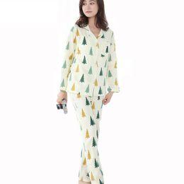 Womens Silk Satin Pajamas Set Cotton Long Sleeve V-Neck Sleepwear Pajamas  Suit Printed Female Sleep Two Piece Set Loungewear ec17db1da