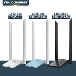 2018 Yeni ~ Kablosuz Wifi Adaptörü Ağ Kartı Ücretsiz Sürücü Wifi Anten Uzun Menzilli USB Adaptörü 150 M-1300 M Dual Band nereden