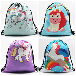 Wholesale 3d Printed Fabric - Digital Printing Bag Unicorn Pattern Children Drawstring Shoulder Bag 3D Printing Shopping Bag for Kids DDA41