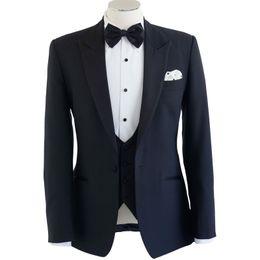 Azul marino novio trajes de hombre un botón solapa de la boda solapas esmoquin para novio traje de tres piezas (chaqueta + chaleco + pantalones) desde fabricantes
