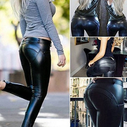 wholesale leather leggins Australia - 200pcs Women Pu Leather Leggings Hip Push-Up Fitness Skinny Trousers Women Sportings Sexy Yuga Leggins Pants Leather Legging AP190
