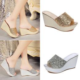 9c826510116f7c Women Summer Casual High Heel Wedge Skid Slippers Beach Sandals Silver  Bling Flip Flops Shoes