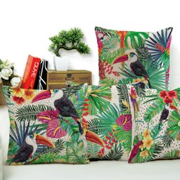 Wholesale Parrot Cushions Covers - Tropical Parrot Pattern Cushion Covers Leaves Flowers Chair Waist Pillowcase Sofa Throw Decorative Cushion Cover
