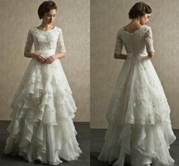 Wholesale long sleeve half button - 2019 Modest Long A-Line Lace Tulle Wedding Dresses Square Sheer Half Sleeves Trains Buttons Back Bridal Gowns