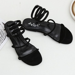 Women Summer Sandals 2018 New Leisurely Serpentine Winding Flat Bottom  Concise Women s Black Shoes 35-40 Code Free Shipping c473a7554883