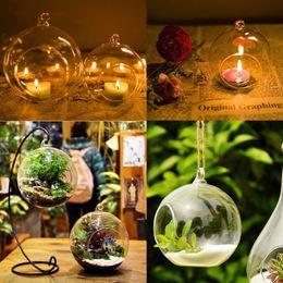 2019 castiçais de pilar de vidro Titular da vela de vidro de cristal pendurado castiçal casa festa de casamento jantar decoração rodada fábrica de ar de vidro bolha bolas de cristal