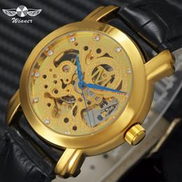1c969b23279 VENCEDOR Top Marca de Luxo Das Mulheres Dos Homens Relógios Esqueleto de  Ouro de Couro Mecânico Automático Strap Top Marca de Luxo Casal relógio de  Pulso