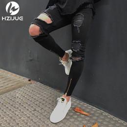 Jean gros trou au genou en Ligne-Denim De Luxe Jeans Salut-Rue Hommes Genou Eversion Déchiré Grand Trou Hommes Jeans Streetwear Skateboard Droite Homme Casual Élastique Jeans