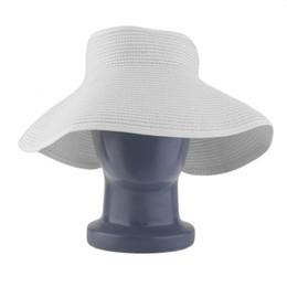 Chinese Ladies Women Outdoor Summer Sun Beach Folding Roll Up Wide Brim  Straw Visor Hat Cap fcfa8b93d79