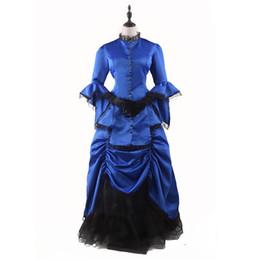 trajes victorianos vintage de las mujeres Rebajas Royal Blue Victorian Bustle Dress Mujer adulta elegante vestido de bola Vestidos renacentistas Vintage Vestido Steampunk Disfraces de Halloween