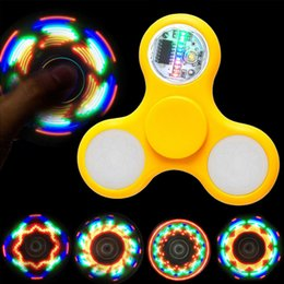 Wholesale Plastic Led - LED Light Up Fidget Spinner with 11 LED Beads 18 Patterns CE RoHs Replaceable Battery Plastic Tri-spinner Solid Color LED Fidget Spinners