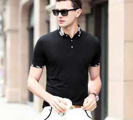 Wholesale T Shat - Solid Color Mens Summer Polo Shirt Neck Printing Sexy Men T-shit Fashion Brand Tops