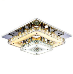 Wholesale amber surface - Modern Crystal LED Ceiling Lights Bedroom Living Room Plafond Lamp Surface Mounting Ceiling Chandeliers Transparent Amber Crystal
