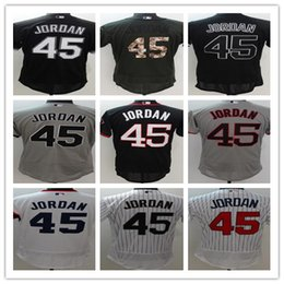 Wholesale Red Wine Stores - Online Store Wholesale 45 Michael Baseball Jerseys White Black Gray Embroidery logos Jersey Accept Mix Orders
