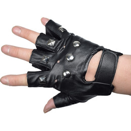 Wholesale tactical gloves leather half finger - KUYOMENS Men Fingerless Gloves Wrist Half Finger Glove Unisex Fingerless Mittens Real Genuine Leather Tactical Gloves
