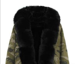 Классический черный мех отделка Jazzevar бренд черный лиса и кролик мех лайнер камуфляж оболочки мини куртка с лисой разрез меха женщины теплые пальто supplier fox fur trimmed coat от Поставщики меховое пальто из лисы