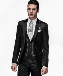 Wholesale white groomsmen embroidery suits - Groom Wear Shinny Black Men Suits Embroidery Groomsmen Best Man Wedding Party Dinner Prom Tuxedos Custom Made 2018 (Jacket+Pants+Vest+Tie)