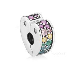 Mehrfarbige armbänder online-2018 New Authentic 925 Sterling Silber Mehrfarbige Arc of Love Herz Clip Mehrfarbige Kristalle Charm Fit Pandora Armband Schmuck