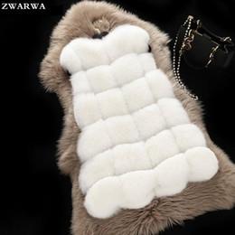 Wholesale Womens Fur Coat Rabbit - Womens Fashion Solid O-Neck Pockets Hot Sale New Fur Vest 2017 Faux Fux Winter Vests Coat Jacket Fake Rabbit Female For Girls 4X