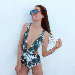 Wholesale Swimwear One Piece Monokinis - 2018 New Sexy One Piece Swimsuit Strappy biquini High Waist Swimwear Women cut out Bodysuit Leotard Bathing Suits Monokinis