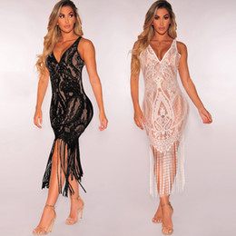 Wholesale women s transparent dresses - MAYFULL NEW FASHION women Sexy v-neck empire sleeveless dress lady lace tassels bikinis transparent evening party dress female