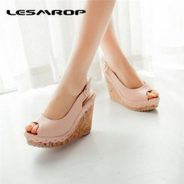 Wholesale roman wedge sandals fashion - Large Size 35-43 Brand New Women's Shoes Thick Crust Muffin Roman Sandals Fashion Shoes Wedges Shoe Buckle Mouth Sandals #1355