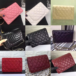 Wholesale Real Leather Clutch Bags - Wholesale Orignal real sheep leather caviar fashion famous chain shoulder bag handbag presbyopic card holder purse evening bag messenger WOC