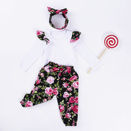 Wholesale Organic Baby T Shirts Wholesale - Vieeoease Baby Girls Sets 2018 Spring Fly Sleeve T-shirt + Floral Pants + Bow Headband Children Outfits 3 pcs cotton HX-947