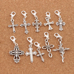 100pcs lot Cross Jesus Lobster Claw Clasp Charm Beads Tibetan Silver Floating Fit Bracelet Jewelry Findings Components CM28