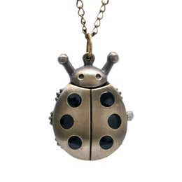 Wholesale Funny Necklaces - Mini Ladybug Shape Pocket Watch Funny Bronze Clock Pendant Necklace Lovely Children Watch Creative Gifts for Boys Girls Birthday