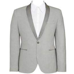 costume skinny beige clair Promotion HCF by Air Men 's 1 Pièce 1 Bouton Châle Col Skinny Fit Formelle Mode Tuxedo Hommes Costumes Formelle Veste Gris Clair