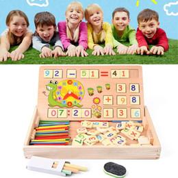 Canada Jouets mathématiques en bois bébé éducatif horloge cognition math jouet avec tableau noir craies enfants en bois jouets éducatifs Offre