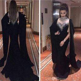 Wholesale Evening Dresses Haifa - 2018 Haifa Wahbe Beaded Black Prom Dresses Sexy Cape Style Latest Mermaid Evening Gowns Dubai Arabic Party Dresses