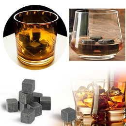 Wholesale Whiskey Tray - Fashion 9pcs lot Stone Cube Whiskey Ice Cubes Stone Barware Wine Beer Cooling Tray Mould Gadgets for Kitchen