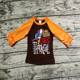 ragazze di tacchino Sconti Ringraziamento Neonata Vestiti Boutique Bambina Top T-shirt Cotone manica lunga Ruffles Turchia Lettera Stampa Autunno Autunno Bambini Vestiti 1-6Y