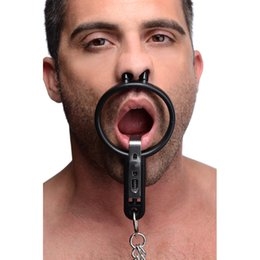 Wholesale Sex Toys O Ring Gag - Degraded Mouth Spreader with Nipple Clamps Open Mouth O-Ring Gag Bdsm Restraint Strapes Bondage Sex Toy Adult Games