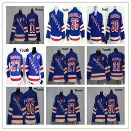 Wholesale Boys New York - 2018 New York Rangers Youth Women 27 Ryan McDonagh 30 Henrik Lundqvist 36 Mats Zuccarello 11 Mark Messier Blue Hockey Kids Ladies Jerseys