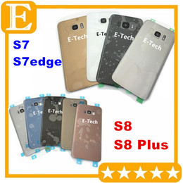 Wholesale Door Lens Camera - Battery Door Back Cover Glass Housing with camera lens cover + Adhesive Sticker For Samsung Galaxy S7 S7 edge VS S8 S8 Plus 50PCS