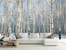 woods country decor Promo Codes - 3d wallpaper custom photo White birch forest snow scenery TV background wall Home decor 3d wall murals wallpaper for walls 3 d living room