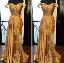 Wholesale Robes de soirée élégantes or sirène dernière dentelle perlée robe de bal ruché longueur au sol illusion jupe formelle robes de soirée plus la taille