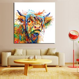 Cuadros frescos pintados online-1 Panel Abstract Animal Painting Love To Play Cool Cow Home Decor Imagen Wall Pictures For Living Room No Frame Canvas Art